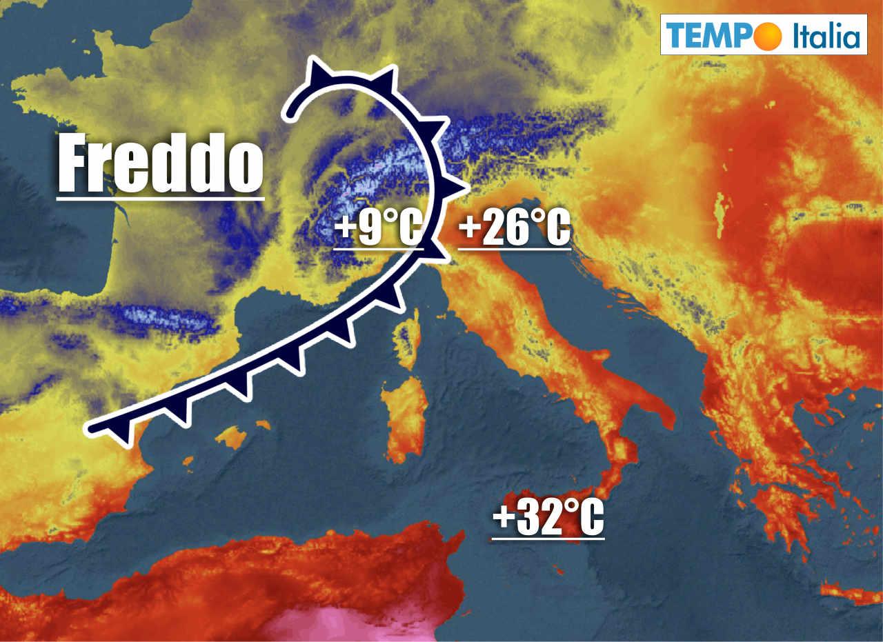 irruzione aria fredda su italia