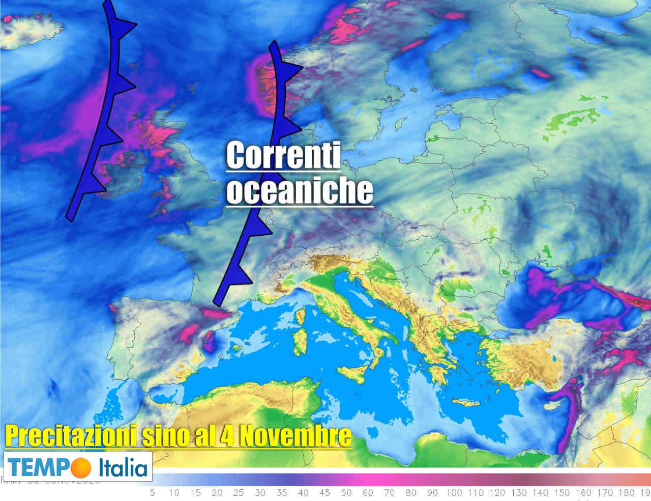 Precipitazioni previste prossimi giorni in Europa.