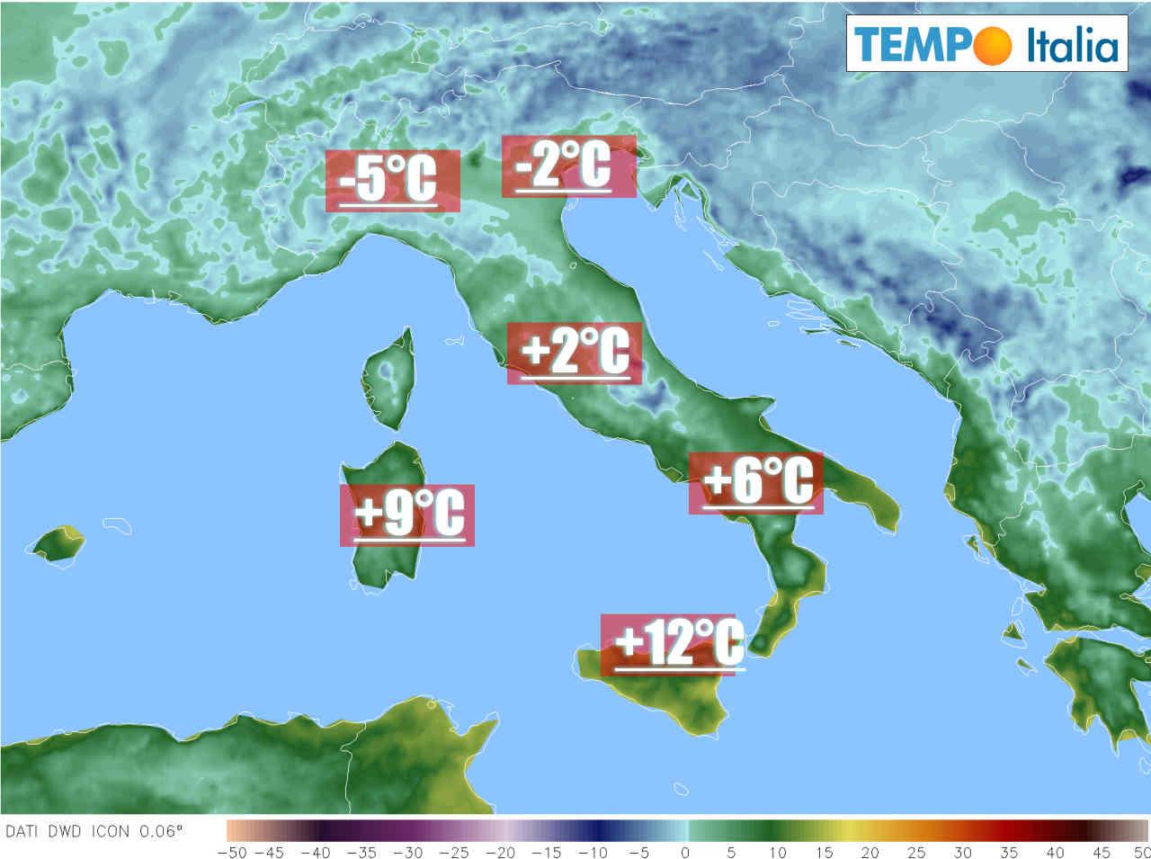 Gelate intense al Nord Italia.