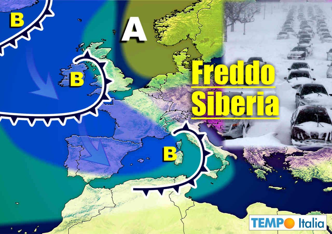 Centro meteo europeo con freddo invernale.