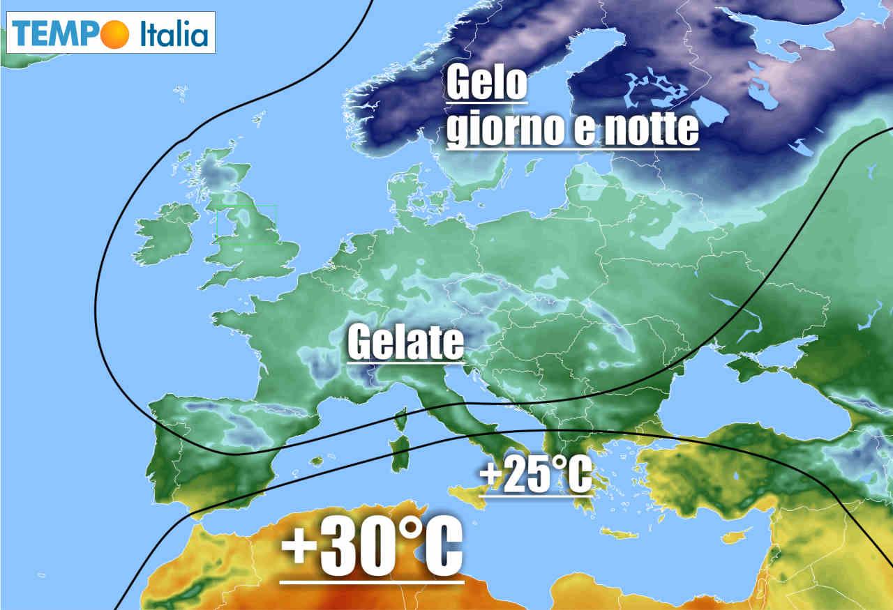 Meteo caldo al Sud e freddo al Nord Italia.