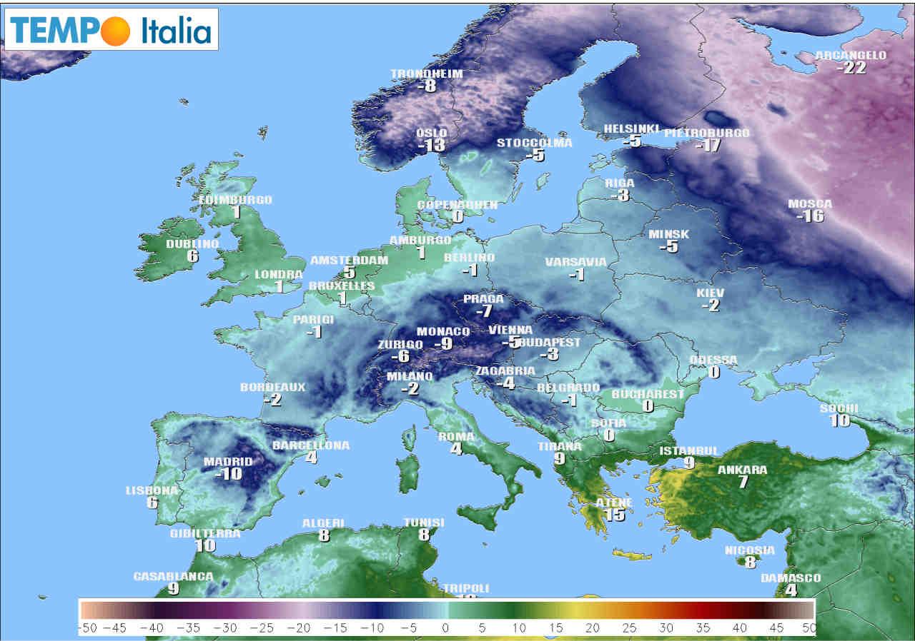 Temperature minime in Europa, stima ICON per lunedì 11.