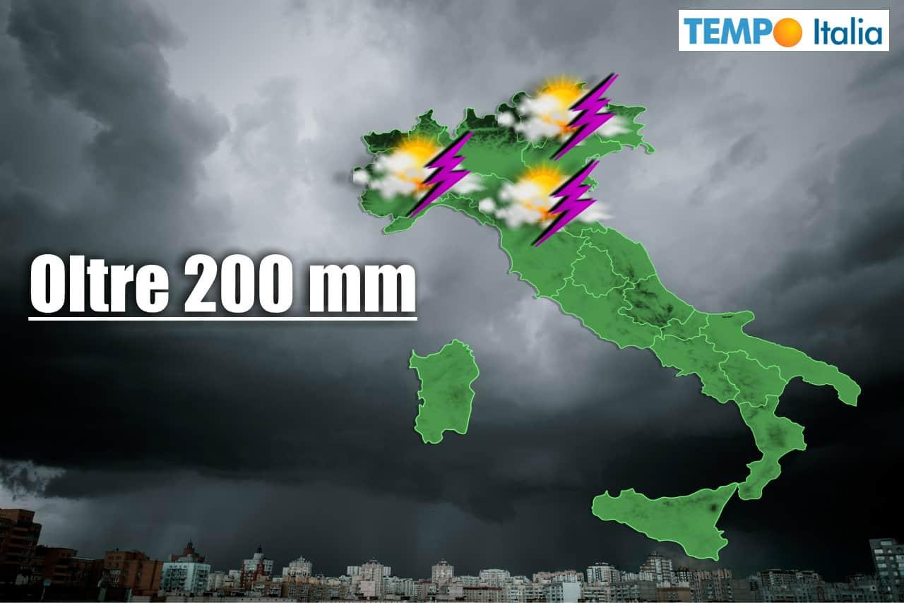piogge previste italia