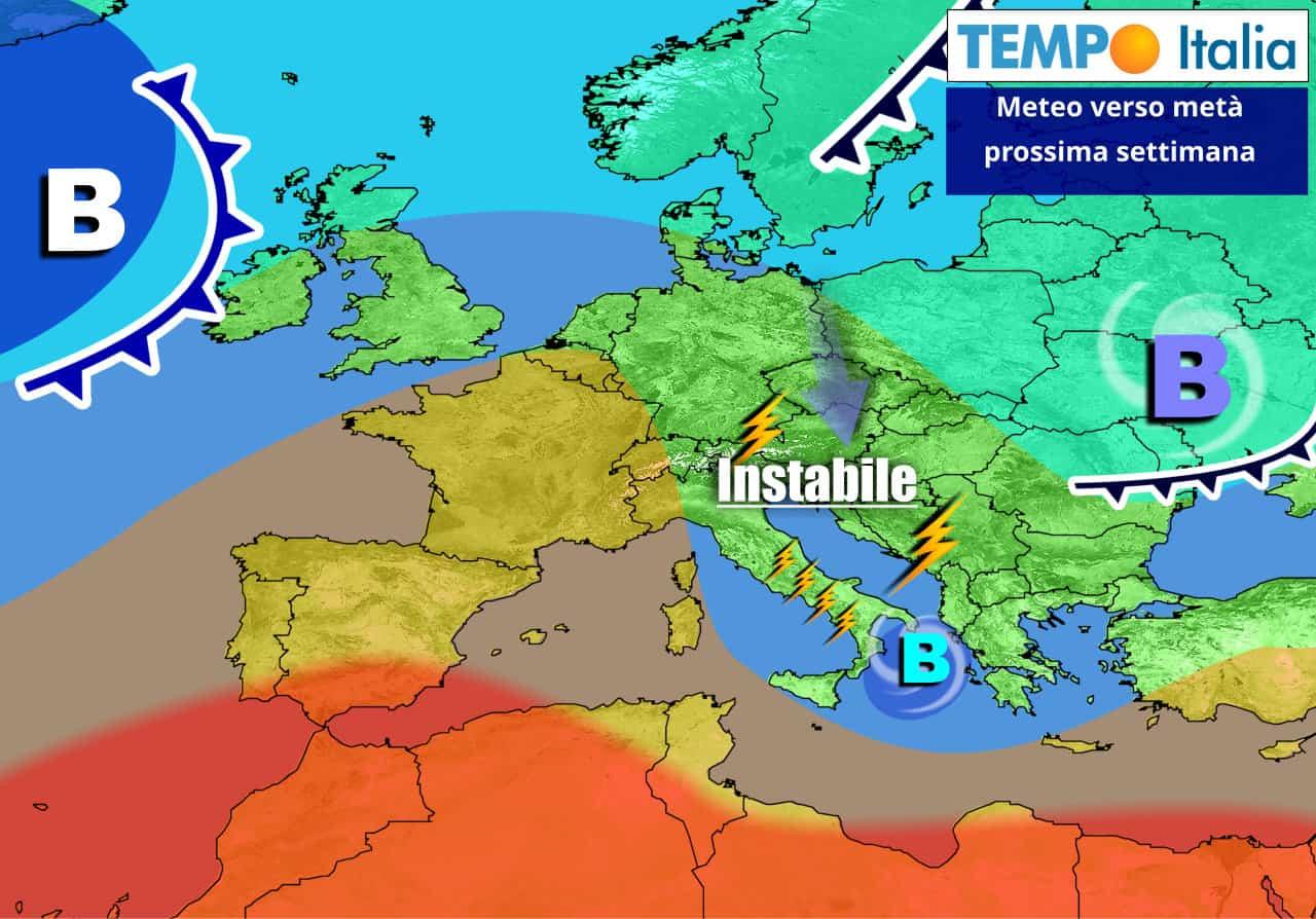 Settimana in gran parte condizionata dal meteo instabile