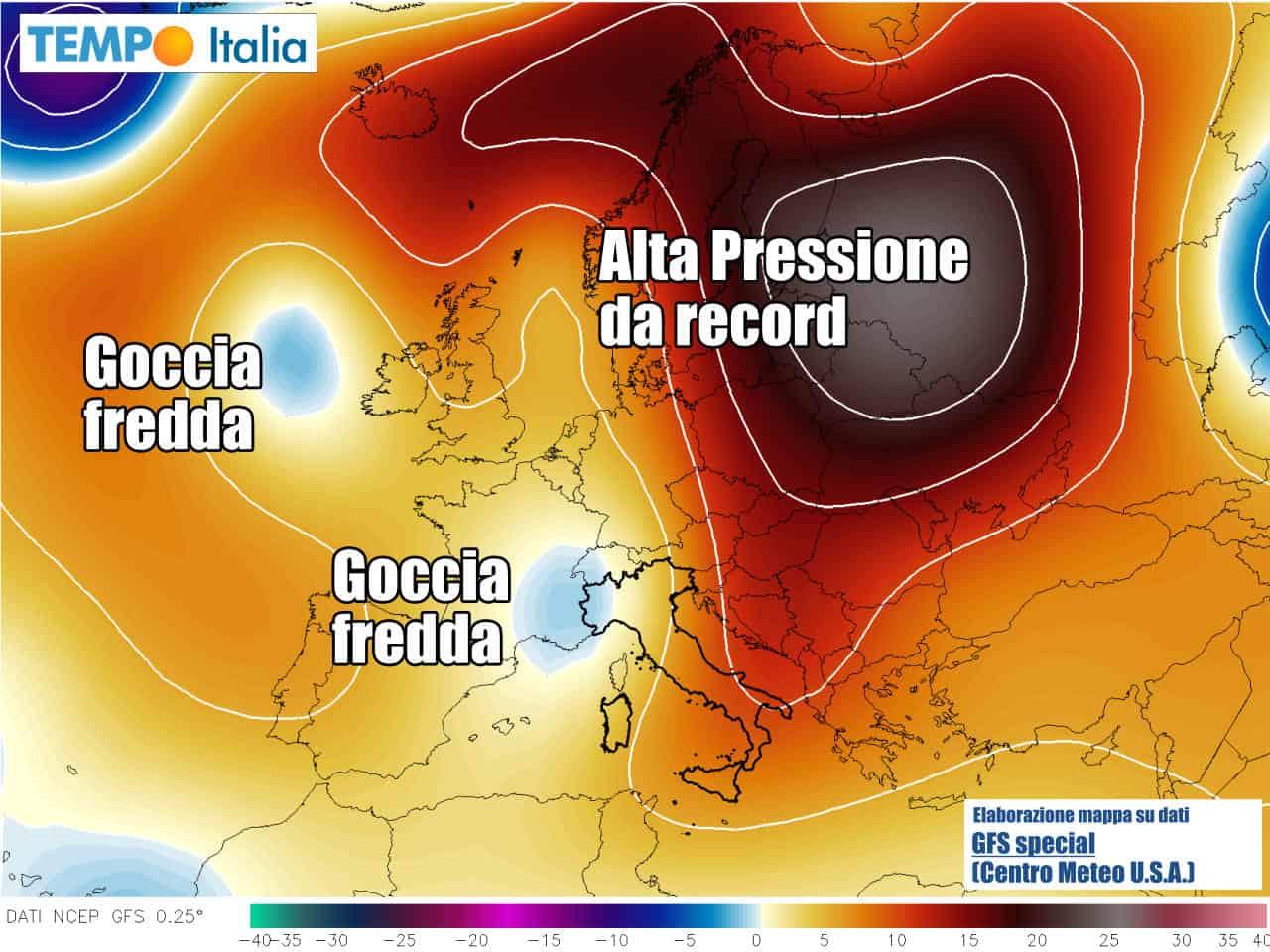 Goccia d'aria fredda verso il Nord Italia, e anticiclone da record verso la Russia occidentale.